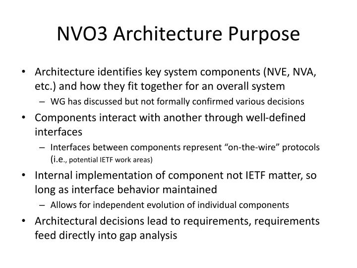 Nvo3 architecture purpose