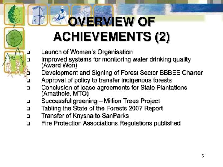 OVERVIEW OF ACHIEVEMENTS (2)