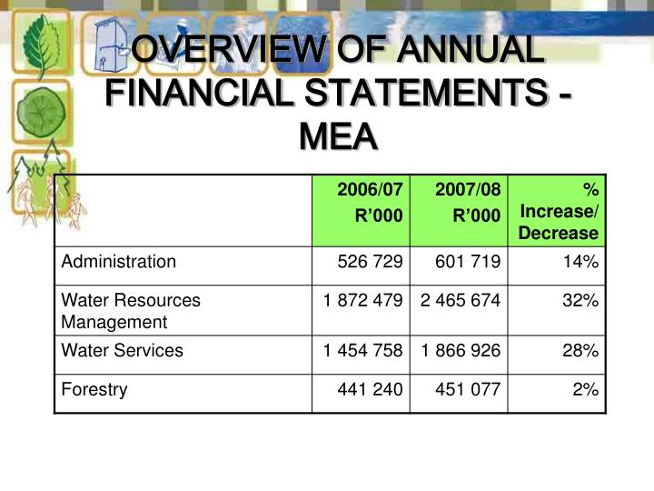 OVERVIEW OF ANNUAL FINANCIAL STATEMENTS -