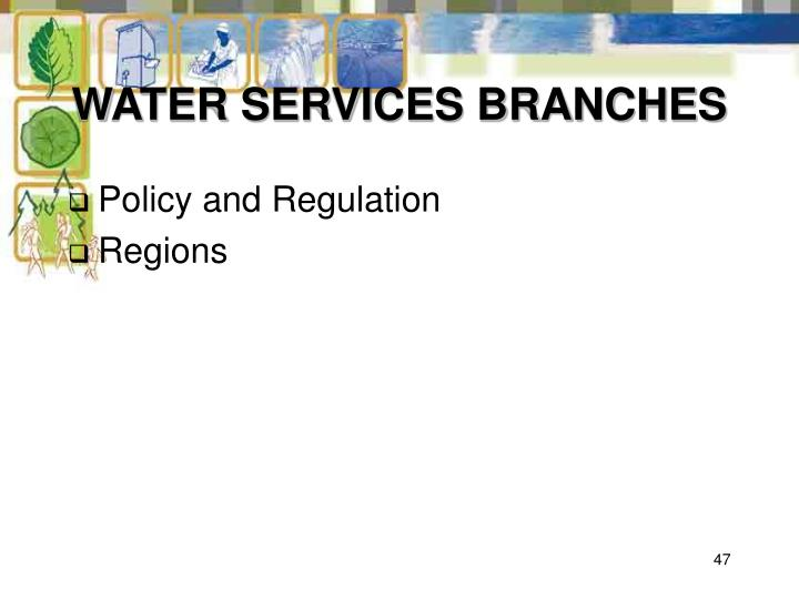 WATER SERVICES BRANCHES