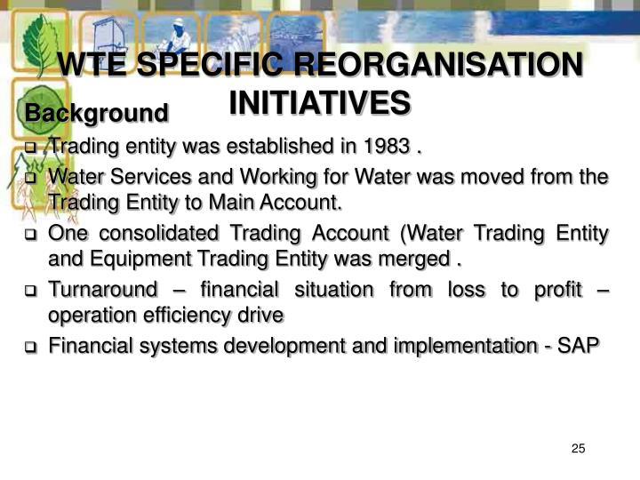 WTE SPECIFIC REORGANISATION INITIATIVES