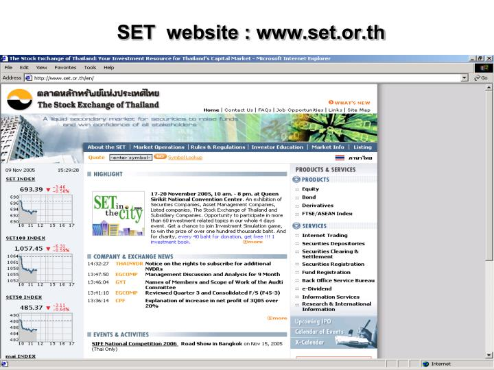 SET website : www.set.or.th