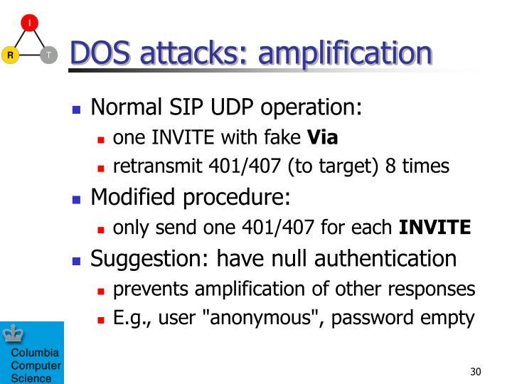 DOS attacks: amplification