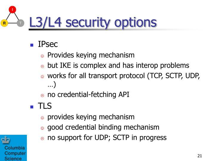 L3/L4 security options