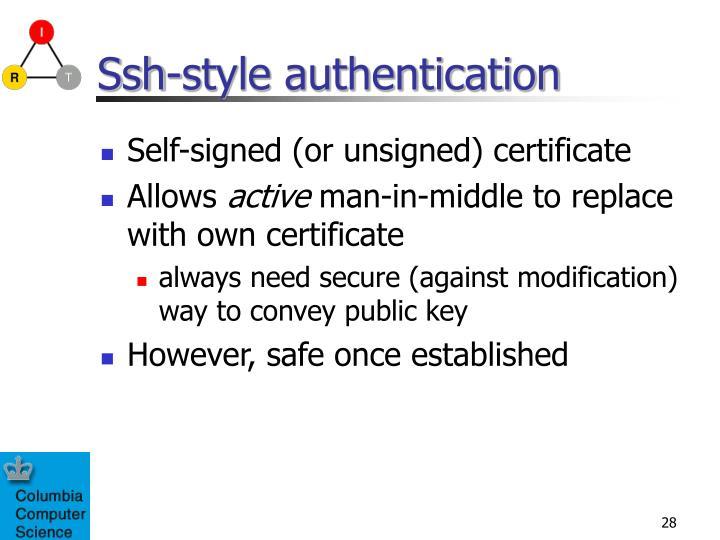 Ssh-style authentication