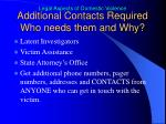 additional contacts required who needs them and why