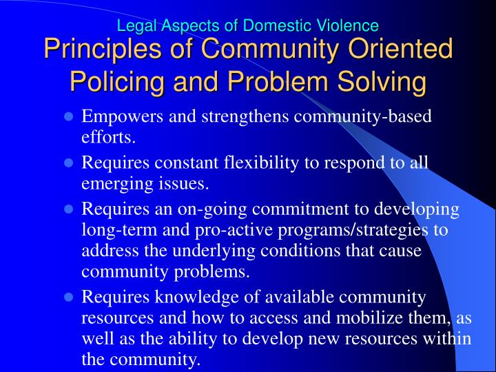Principles of Community Oriented Policing and Problem Solving