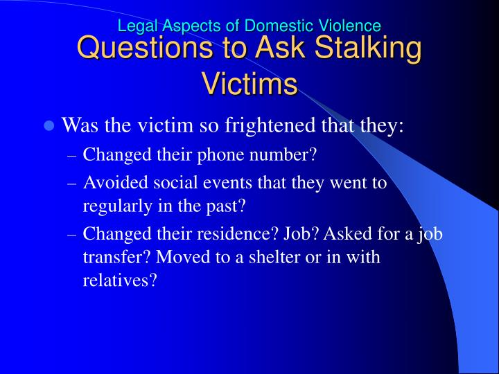 Questions to Ask Stalking Victims