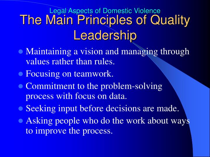 The Main Principles of Quality Leadership
