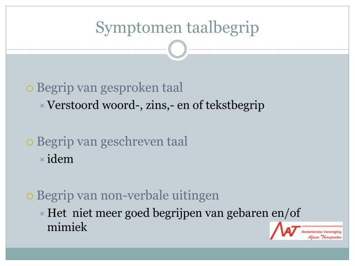 Symptomen taalbegrip