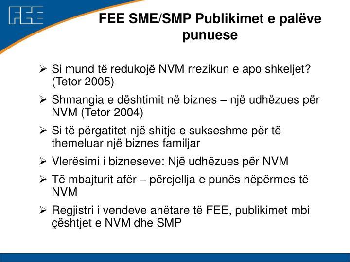 FEE SME/SMP Publikimet e palëve punuese