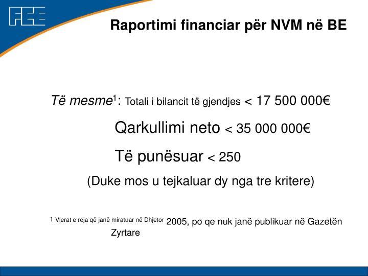 Raportimi financiar për NVM në BE