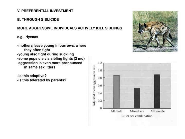 V. PREFERENTIAL INVESTMENT
