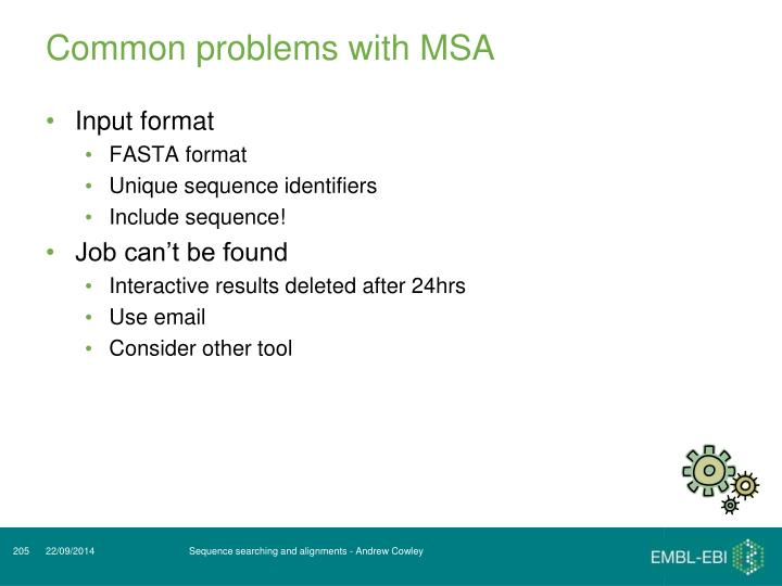 Common problems with MSA