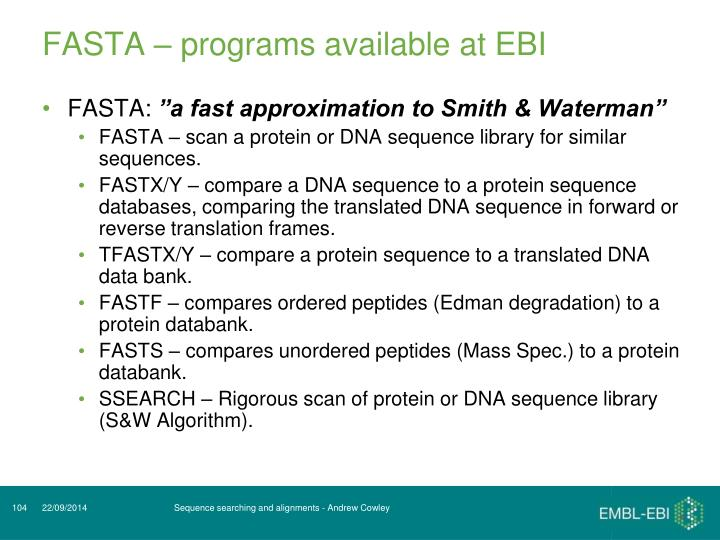 FASTA – programs available at EBI