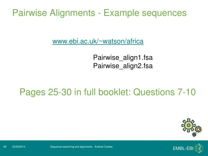 Pairwise Alignments - Example sequences