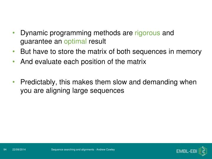 Dynamic programming methods are