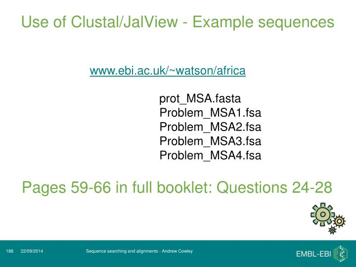 Use of Clustal/JalView - Example sequences
