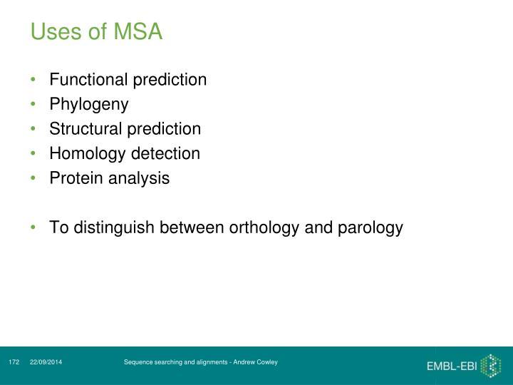 Uses of MSA