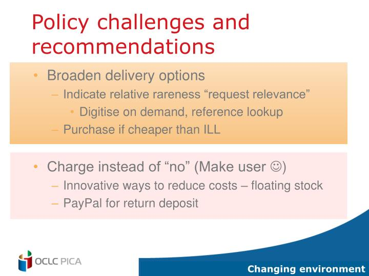 Policy challenges and recommendations