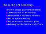 the c h a i n directory