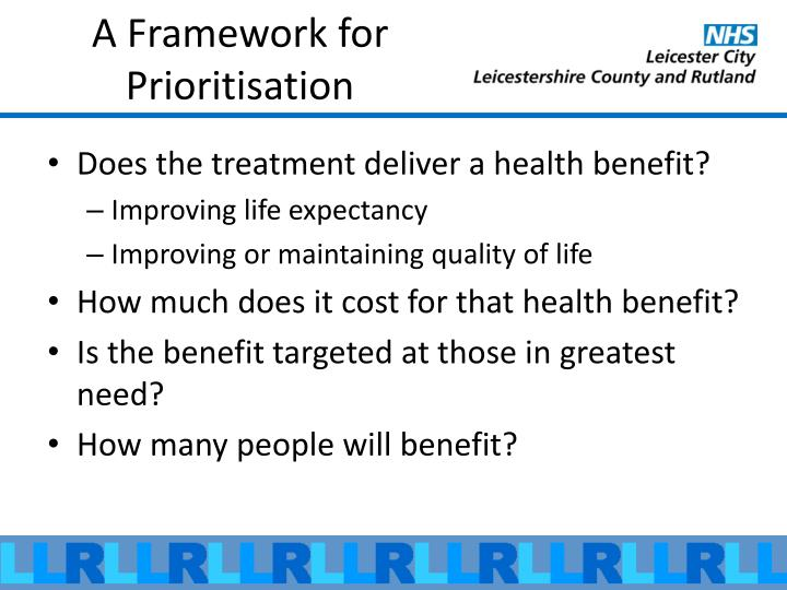 A Framework for Prioritisation