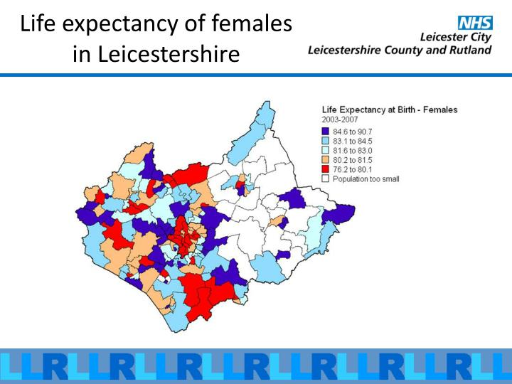 Life expectancy of females in Leicestershire