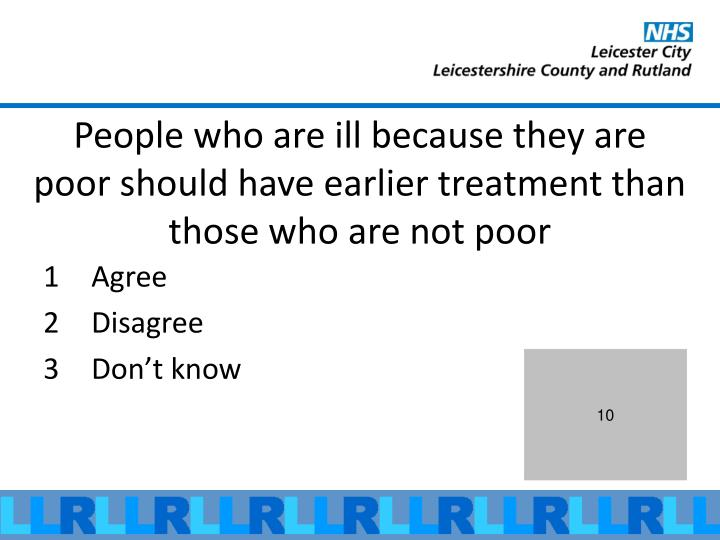 People who are ill because they are poor should have earlier treatment than those who are not poor