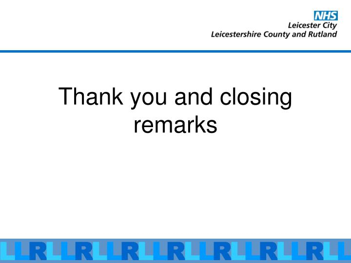 Thank you and closing remarks