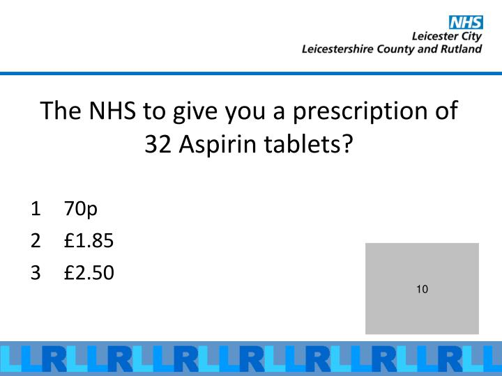 The NHS to give you a prescription of 32 Aspirin tablets?