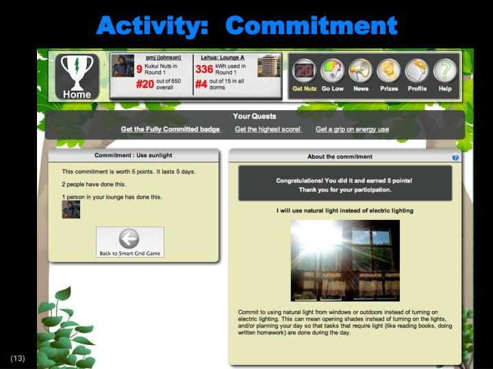 Activity:  Commitment