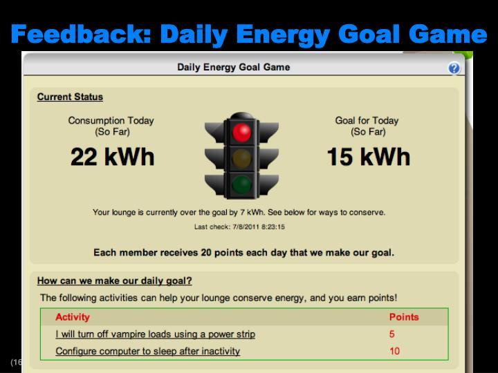 Feedback: Daily Energy Goal Game