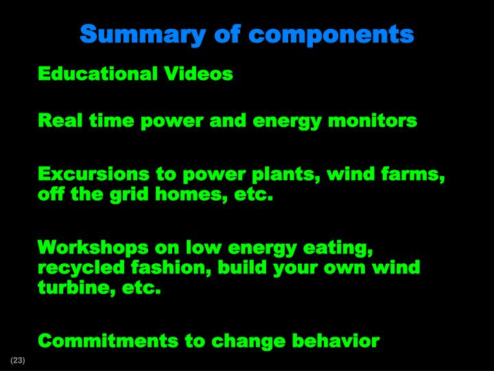 Summary of components