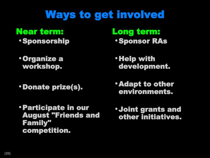 Ways to get involved