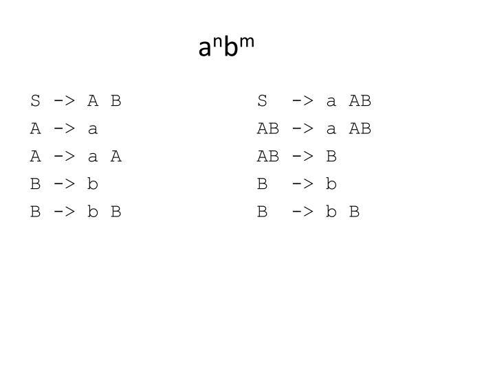 S -> A B