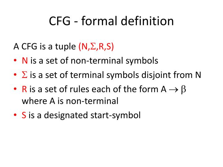 CFG - formal definition