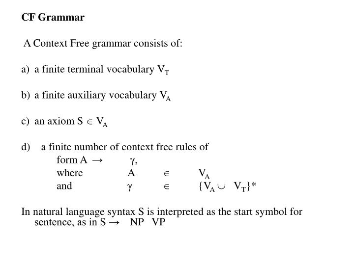 CF Grammar