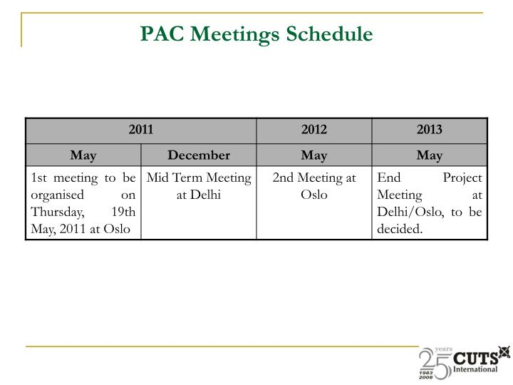PAC Meetings Schedule