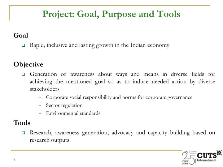 Project goal purpose and tools