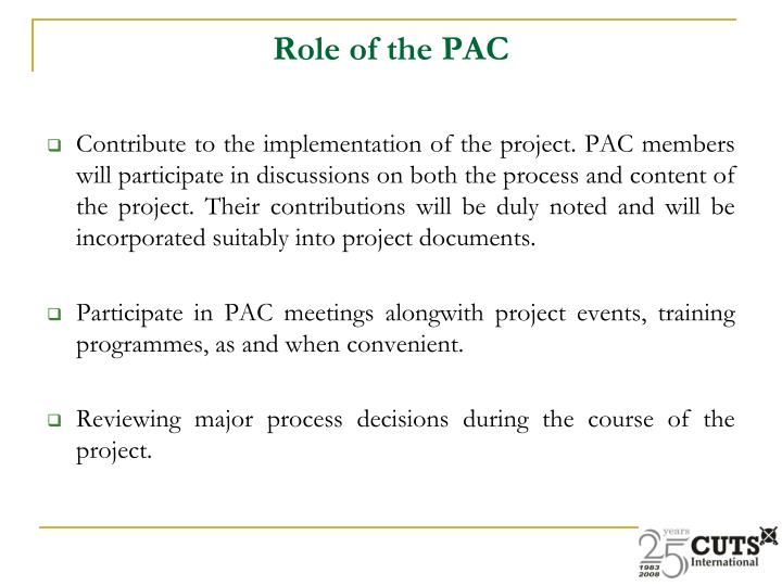 Role of the PAC