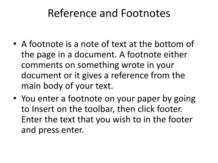 Reference and Footnotes