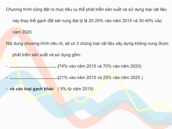 Chng trnh cng t ra mc tiu c th pht trin sn xut v s dng loi vt liu ny thay th gch t st nung t t l 20-25% vo nm 2015 v 30-40% vo nm 2020.