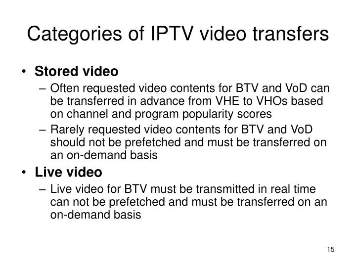Categories of IPTV video transfers