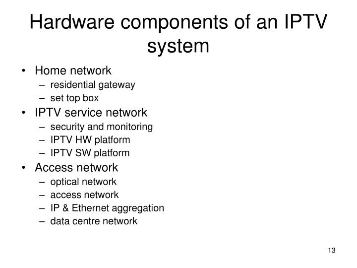 Hardware components of an IPTV system