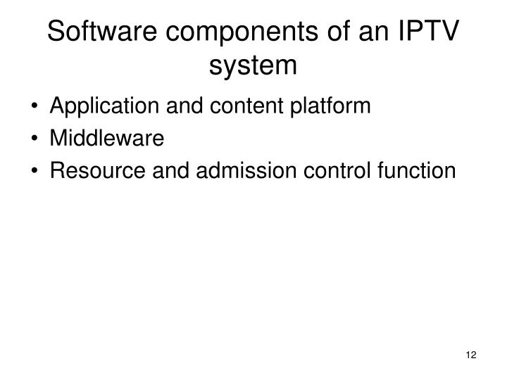 Software components of an IPTV system