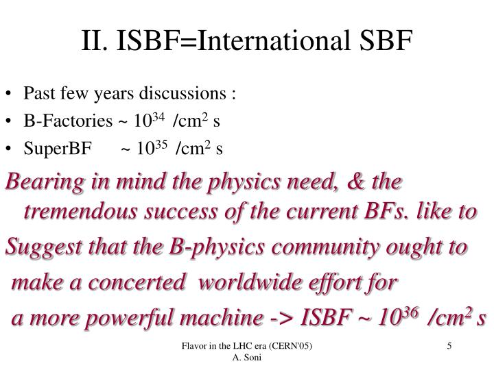 II. ISBF=International SBF