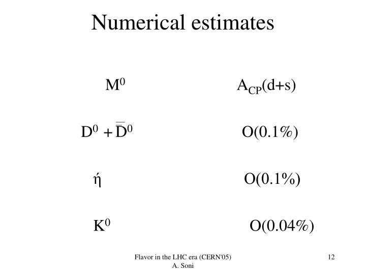 Numerical estimates