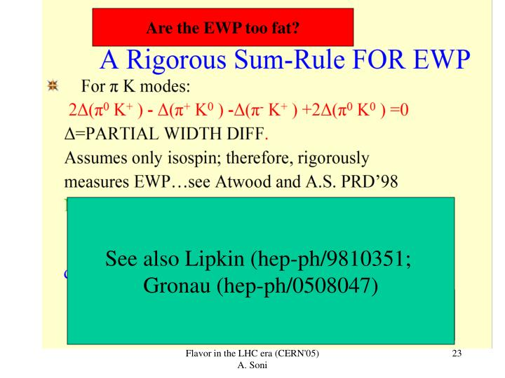 Are the EWP too fat?