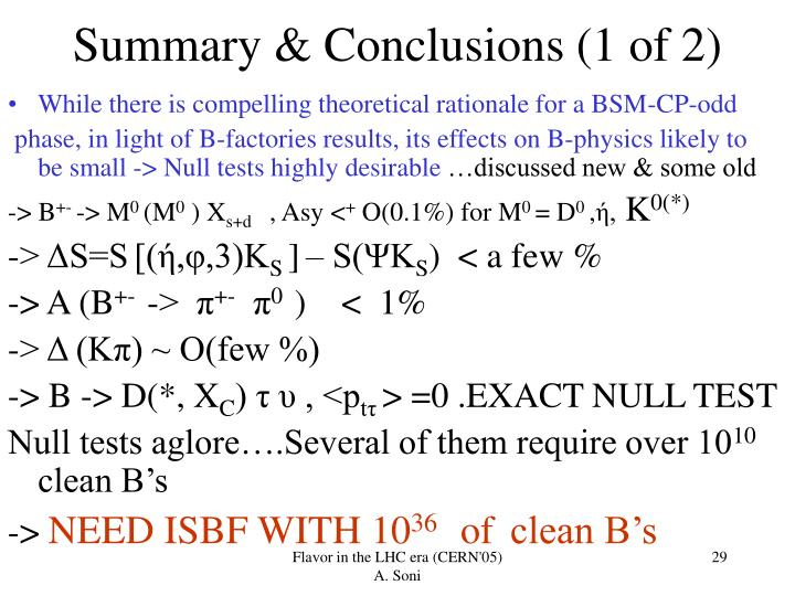 Summary & Conclusions (1 of 2)