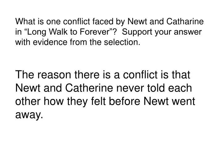 What is one conflict faced by Newt and Catharine in Long Walk to Forever?  Support your answer...